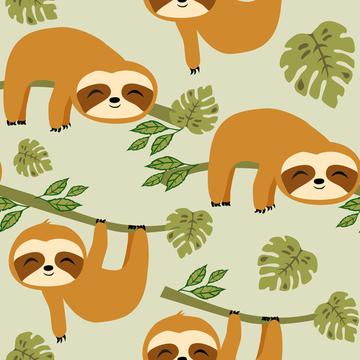 Cute Baby Sloths on Green
