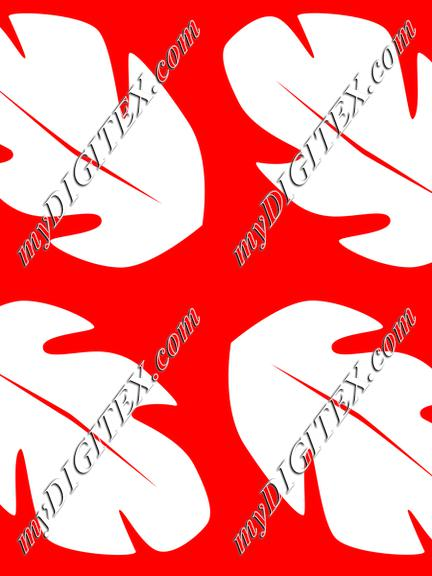 Red & White Tropical Leaf