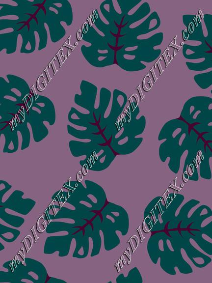 Tropical Leaves Quetzal Green on Purple