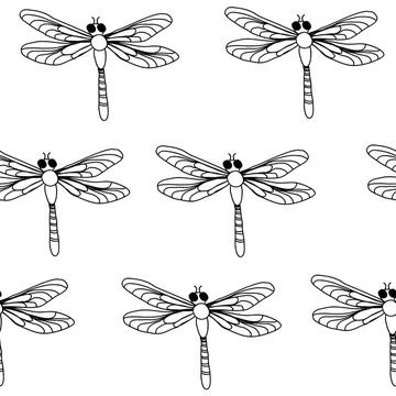 Dragonflies Black and White