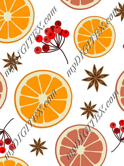 Winter Christmas Pattern with Oranges and Berries on White