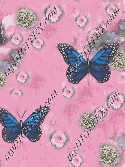 Butterflies Painted pink blue