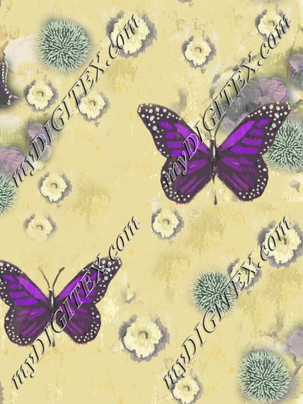 Butterflies Painted yellow violet
