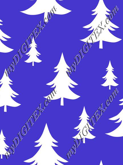 Christmas Trees Fir Trees Winter Forest White on Blue