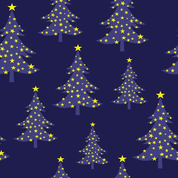 Christmas Tree Blue with Stars