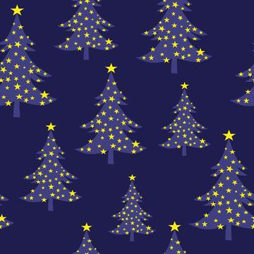 Christmas Tree Blue with Stars