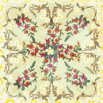 ornamental floral scarf