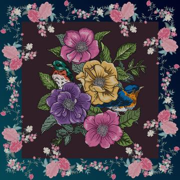 floral scarf detailing with beautiful birds