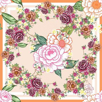 beautiful flowers with dots scarf