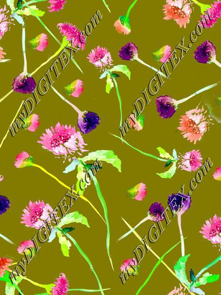 Wildflowers Green Background