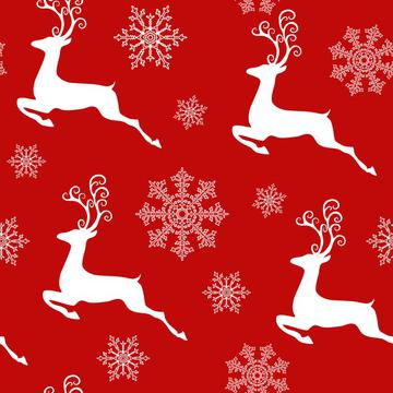 Christmas New Year Pattern Deer and Snowflakes On Red