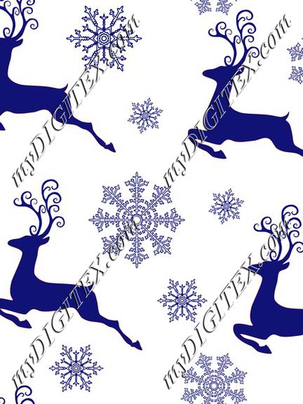 Christmas New Year Pattern Deer and Snowflakes On Blue