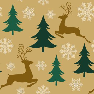 Golden Forest, Christmas New Year Reindeer and Trees