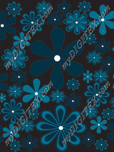 fantasy daisies turquoise-black