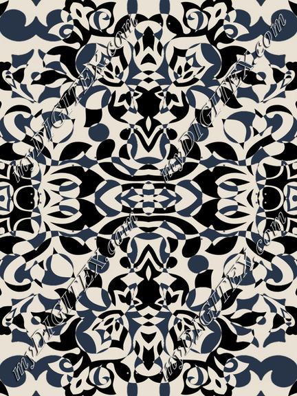 Stylised petals art deco beige black wallpaper