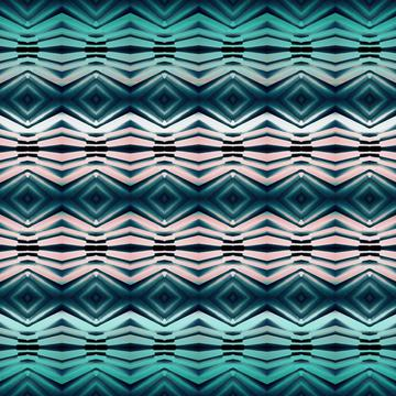 Green peach abstract geometric rhombic pattern