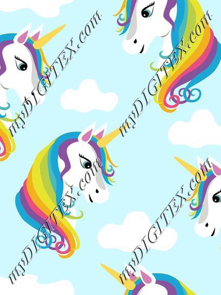 Rainbow Unicorns on Blue