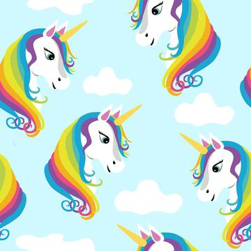 Rainbow Unicorns on Blue