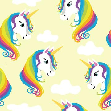 Magical Rainbow Unicorns on Yellow