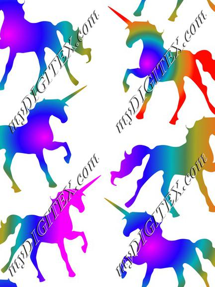 Rainbow Unicorns on White