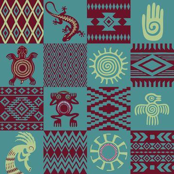 Watercolor Succulents (Tribal Symbols)