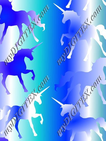 Unicorns on Blue