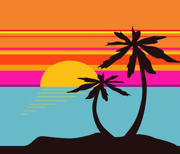 Tropical Sunset with Plams