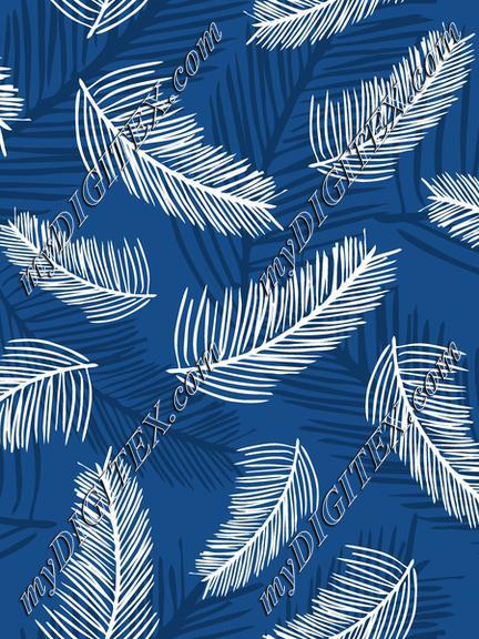 Palm Leaves Classic Blue Back