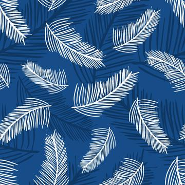 Palm Leaves Classic Blue Back