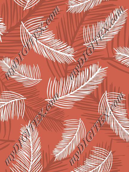 Palm Leaves burnt Orange Back