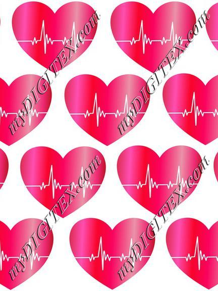 Heartbeat Red Hearts Romantic Love Pattern