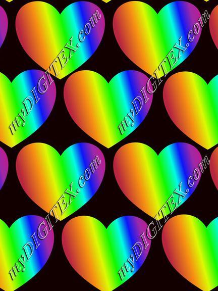 Rainbow hearts on black