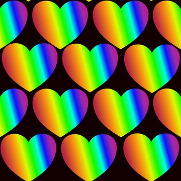 Rainbow hearts on black