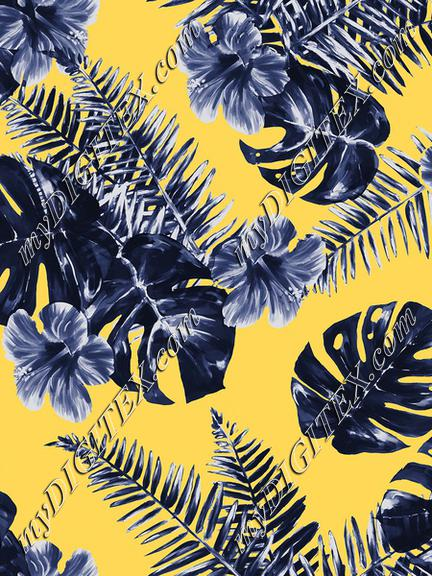 Tropical flowers yellow blue