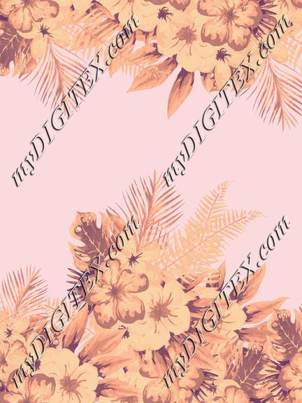Tropical flowers Gold Pink