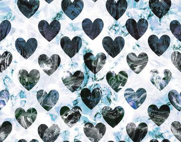 Blue Marble Textured Hearts Valentine pattern