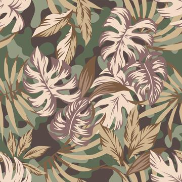 Hibiscus Camo Tropical Leaves