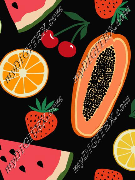 Fruits, papaya, strawberry, cherry, orange, lemon, watermelon on black