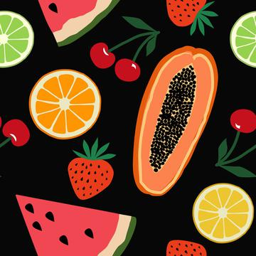 Fruits, papaya, strawberry, cherry, orange, lemon, watermelon on black