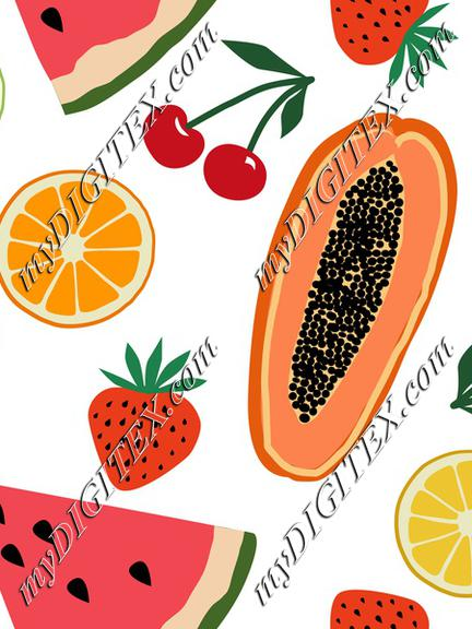 Fruits, papaya, strawberry, cherry, orange, lemon, watermelon on white