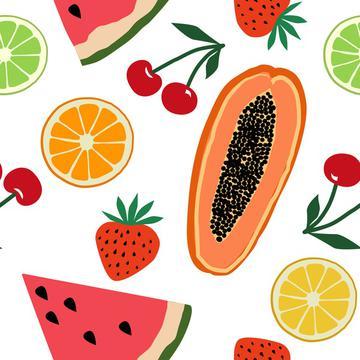 Fruits, papaya, strawberry, cherry, orange, lemon, watermelon on white