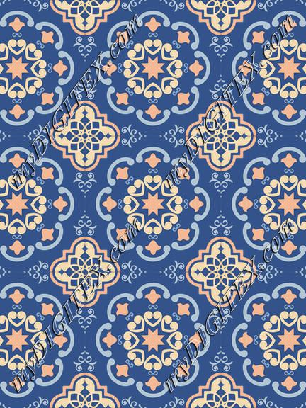 Ceramic Tiles Classic Blue, Peach