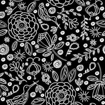 Color Birds and Blooms black and white-01